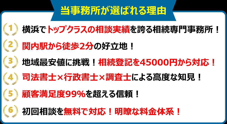 当事務所が横浜の相続手続き専門司法書士として選ばれる理由